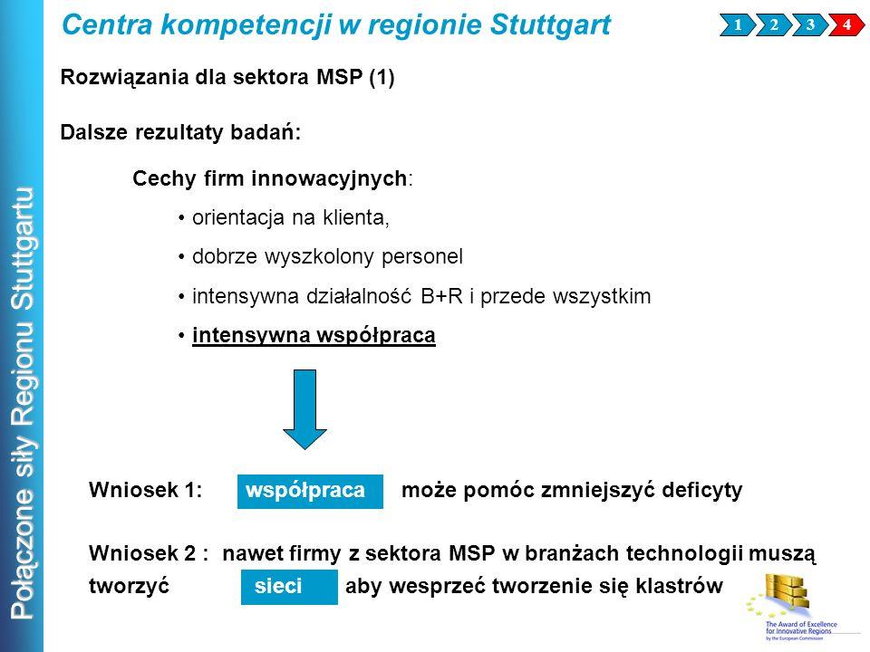 Połączone siły Regionu Stuttgartu Wniosek 2 : nawet firmy z sektora MSP w branżach technologii muszą tworzyć sieci aby wesprzeć tworzenie się klastrów