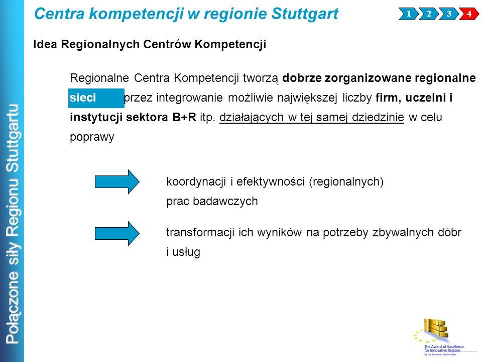 Połączone siły Regionu Stuttgartu Regionalne Centra Kompetencji tworzą dobrze zorganizowane regionalne sieci przez integrowanie możliwie największej l