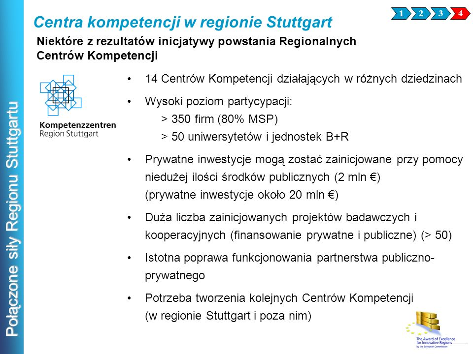Połączone siły Regionu Stuttgartu Niektóre z rezultatów inicjatywy powstania Regionalnych Centrów Kompetencji 14 Centrów Kompetencji działających w ró