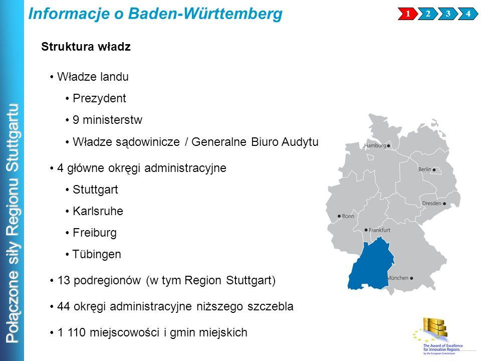 Połączone siły Regionu Stuttgartu Informacje o Baden-Württemberg 1234 Władze landu Prezydent 9 ministerstw Władze sądowinicze / Generalne Biuro Audytu