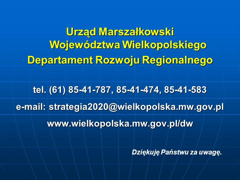 Urząd Marszałkowski Województwa Wielkopolskiego Departament Rozwoju Regionalnego tel.
