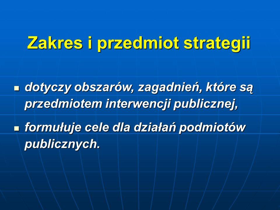 Zakres i przedmiot strategii dotyczy obszarów, zagadnień, które są przedmiotem interwencji publicznej, dotyczy obszarów, zagadnień, które są przedmiotem interwencji publicznej, formułuje cele dla działań podmiotów publicznych.