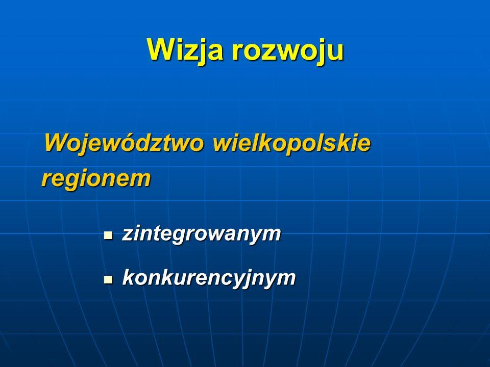 Wizja rozwoju Województwo wielkopolskie regionem Województwo wielkopolskie regionem zintegrowanym zintegrowanym konkurencyjnym konkurencyjnym