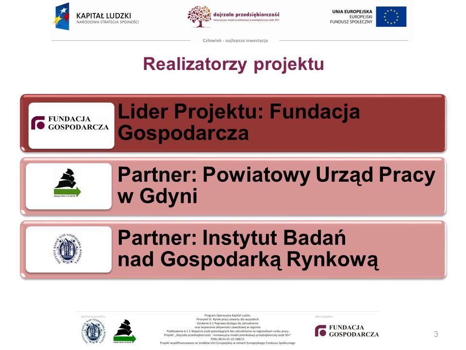 Realizatorzy projektu Lider Projektu: Fundacja Gospodarcza Partner: Powiatowy Urząd Pracy w Gdyni Partner: Instytut Badań nad Gospodarką Rynkową 3