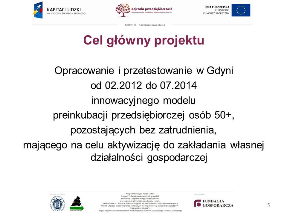 Cel główny projektu Opracowanie i przetestowanie w Gdyni od 02.2012 do 07.2014 innowacyjnego modelu preinkubacji przedsiębiorczej osób 50+, pozostających bez zatrudnienia, mającego na celu aktywizację do zakładania własnej działalności gospodarczej 5