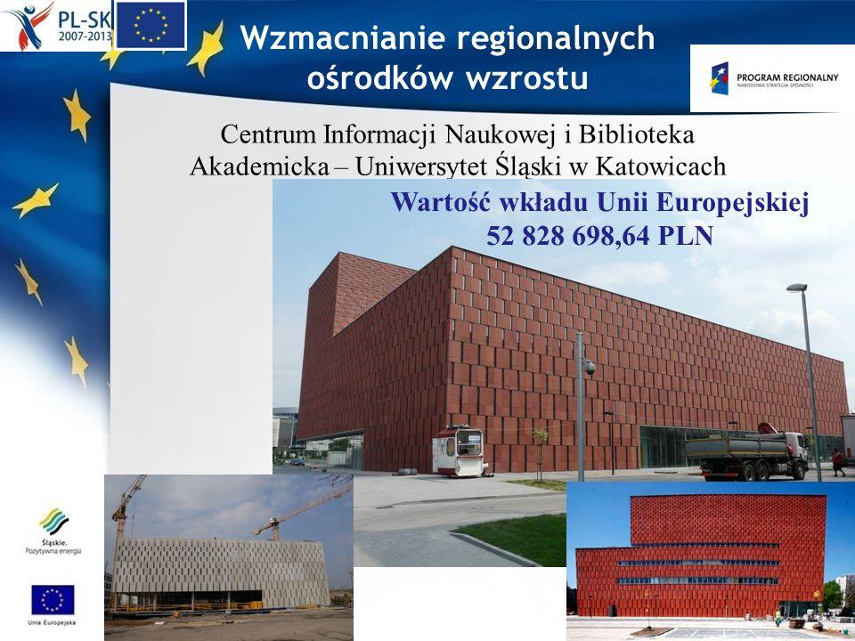 Centrum Informacji Naukowej i Biblioteka Akademicka – Uniwersytet Śląski w Katowicach Wzmacnianie regionalnych ośrodków wzrostu Wartość wkładu Unii Eu