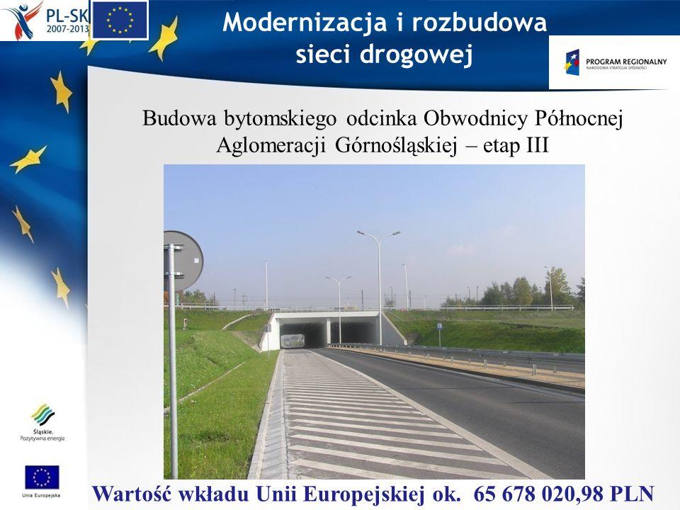 Modernizacja i rozbudowa sieci drogowej Budowa bytomskiego odcinka Obwodnicy Północnej Aglomeracji Górnośląskiej – etap III Wartość wkładu Unii Europe