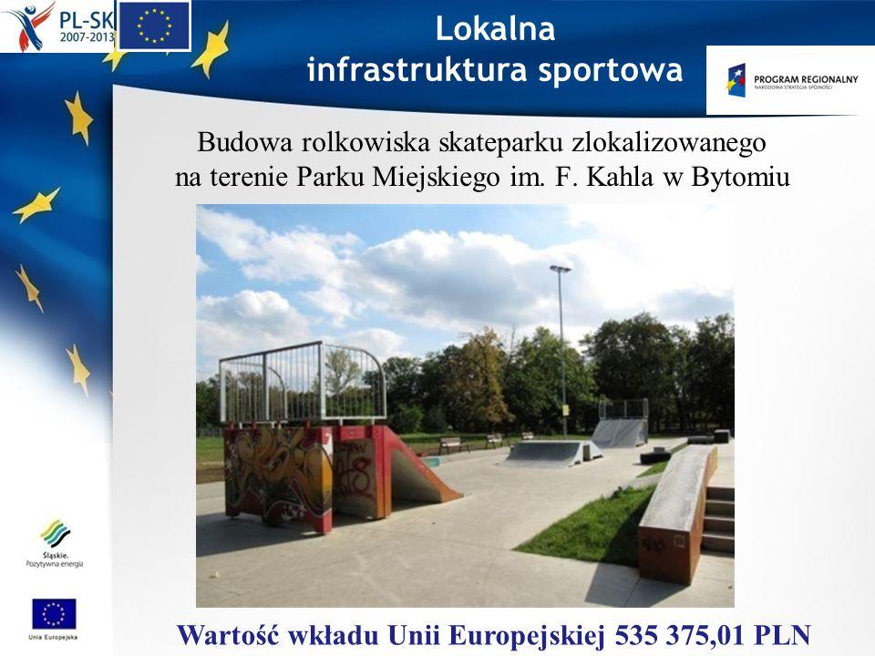 Lokalna infrastruktura sportowa Budowa rolkowiska skateparku zlokalizowanego na terenie Parku Miejskiego im. F. Kahla w Bytomiu Wartość wkładu Unii Eu
