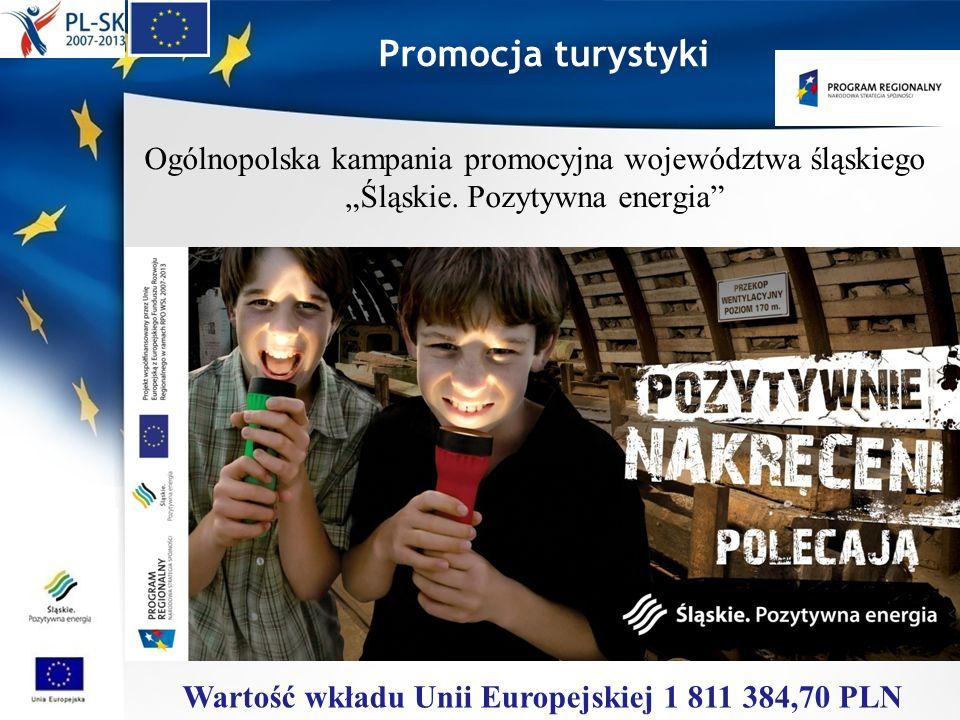 Promocja turystyki Ogólnopolska kampania promocyjna województwa śląskiego Śląskie. Pozytywna energia Wartość wkładu Unii Europejskiej 1 811 384,70 PLN