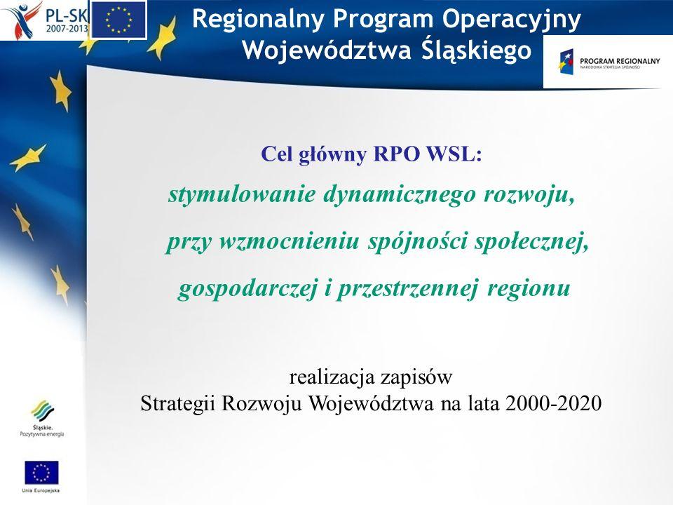 Regionalny Program Operacyjny Województwa Śląskiego Cel główny RPO WSL: stymulowanie dynamicznego rozwoju, przy wzmocnieniu spójności społecznej, gosp
