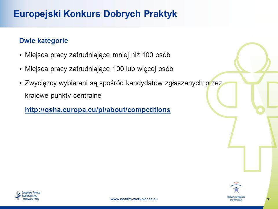 7 www.healthy-workplaces.eu Europejski Konkurs Dobrych Praktyk Dwie kategorie Miejsca pracy zatrudniające mniej niż 100 osób Miejsca pracy zatrudniające 100 lub więcej osób Zwycięzcy wybierani są spośród kandydatów zgłaszanych przez krajowe punkty centralne http://osha.europa.eu/pl/about/competitions