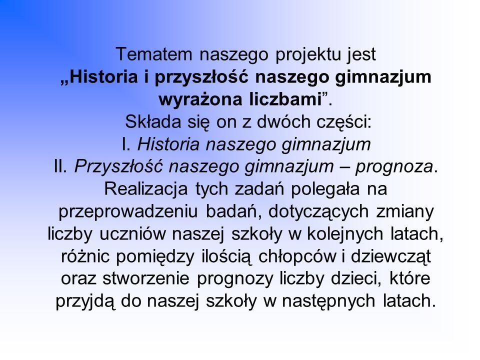 Tematem naszego projektu jest Historia i przyszłość naszego gimnazjum wyrażona liczbami. Składa się on z dwóch części: I. Historia naszego gimnazjum I
