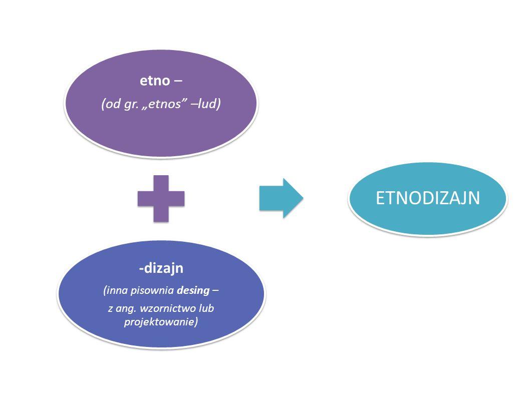 etno – (od gr. etnos –lud) -dizajn (inna pisownia desing – z ang. wzornictwo lub projektowanie) ETNODIZAJN