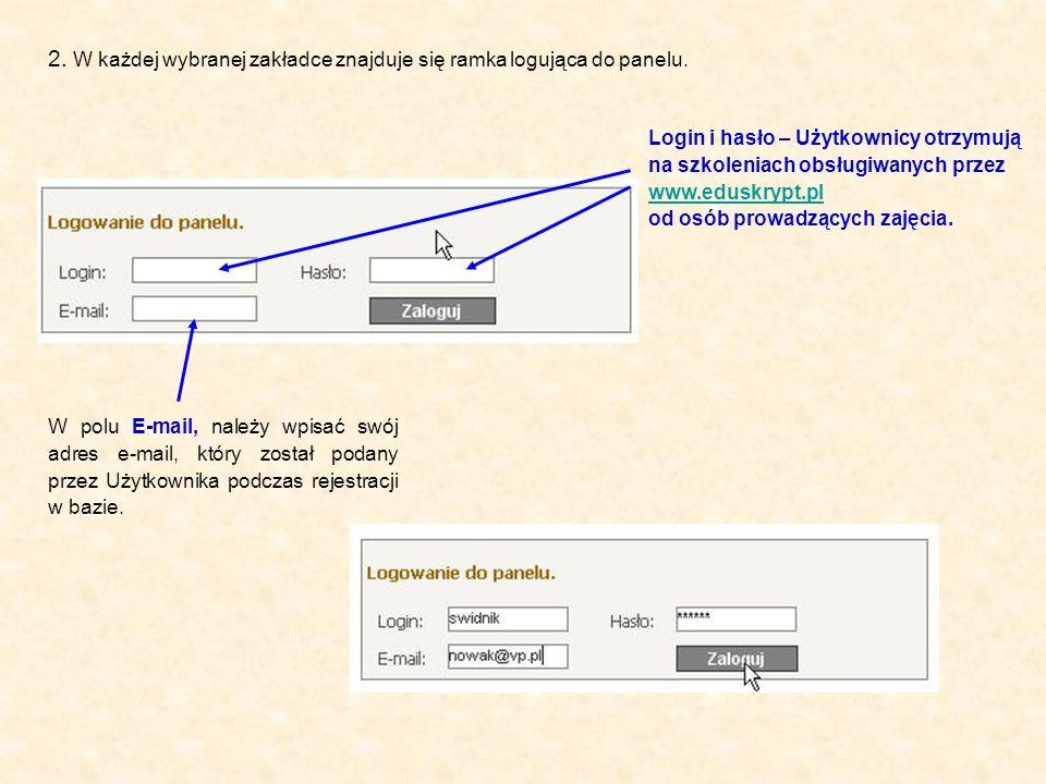 Login i hasło – Użytkownicy otrzymują na szkoleniach obsługiwanych przez www.eduskrypt.pl od osób prowadzących zajęcia. www.eduskrypt.pl 2. W każdej w