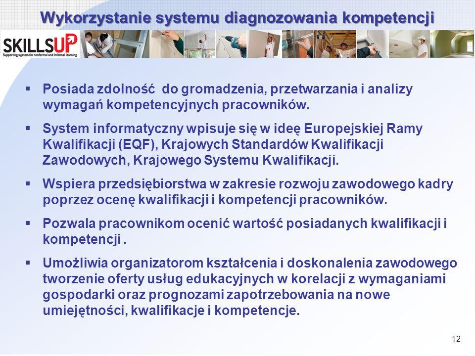 Wykorzystanie systemu diagnozowania kompetencji Posiada zdolność do gromadzenia, przetwarzania i analizy wymagań kompetencyjnych pracowników. System i