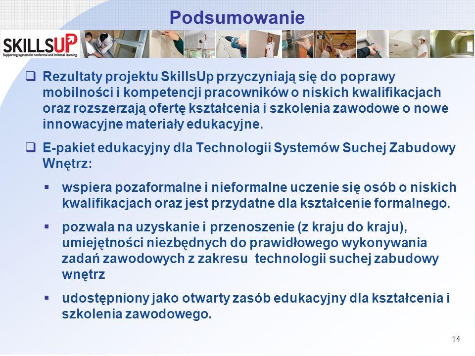 Podsumowanie Rezultaty projektu SkillsUp przyczyniają się do poprawy mobilności i kompetencji pracowników o niskich kwalifikacjach oraz rozszerzają of