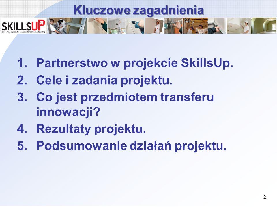 Kluczowe zagadnienia 1.Partnerstwo w projekcie SkillsUp. 2.Cele i zadania projektu. 3.Co jest przedmiotem transferu innowacji? 4.Rezultaty projektu. 5