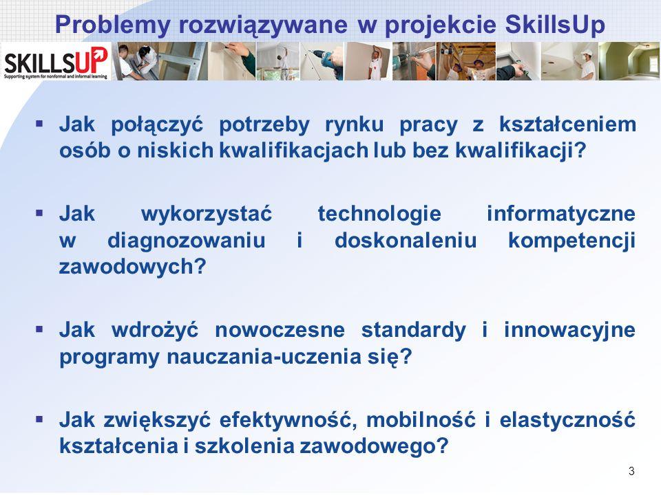 Problemy rozwiązywane w projekcie SkillsUp Jak połączyć potrzeby rynku pracy z kształceniem osób o niskich kwalifikacjach lub bez kwalifikacji? Jak wy