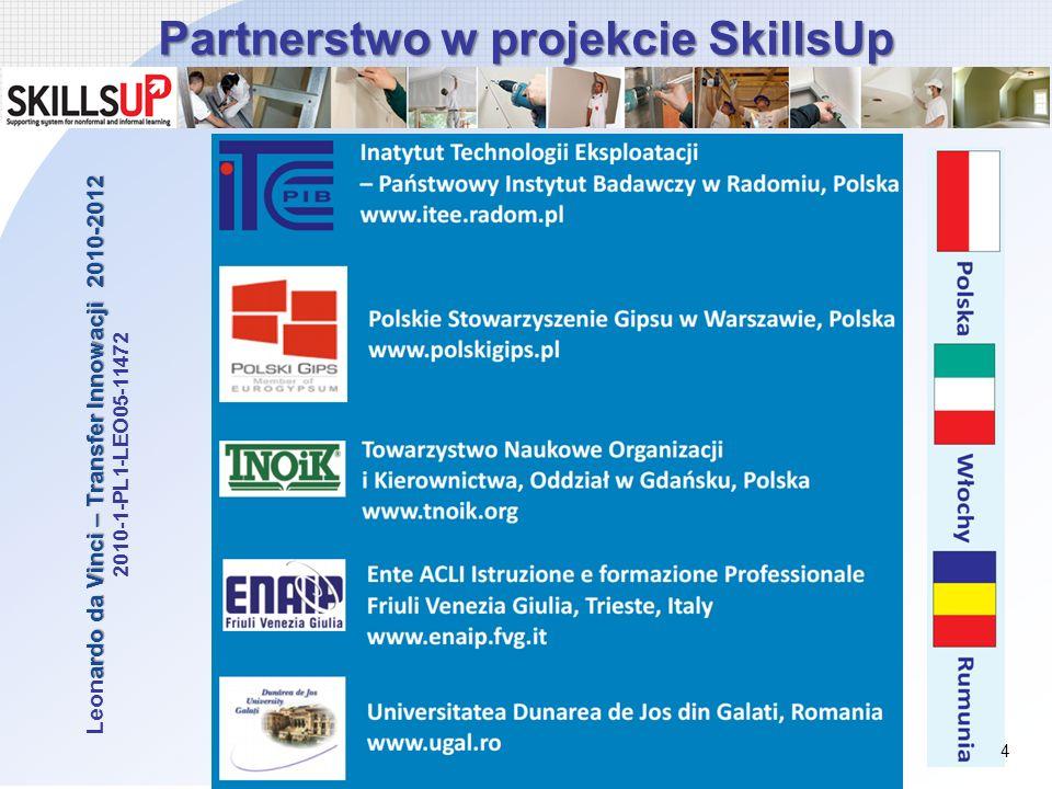 Partnerstwo w projekcie SkillsUp ardo da Vinci – Transfer Innowacji 2010-2012 Leonardo da Vinci – Transfer Innowacji 2010-2012 2010-1-PL1-LEO05-11472