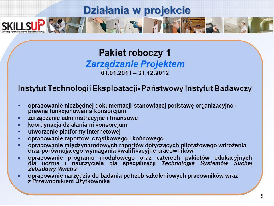 Działania w projekcie Pakiet roboczy 1 Zarządzanie Projektem 01.01.2011 – 31.12.2012 Instytut Technologii Eksploatacji- Państwowy Instytut Badawczy op