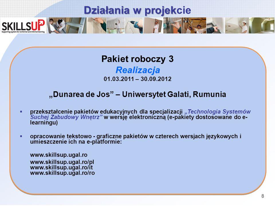 Działania w projek Działania w projekcie Pakiet roboczy 3 Realizacja 01.03.2011 – 30.09.2012 Dunarea de Jos – Uniwersytet Galati, Rumunia przekształce