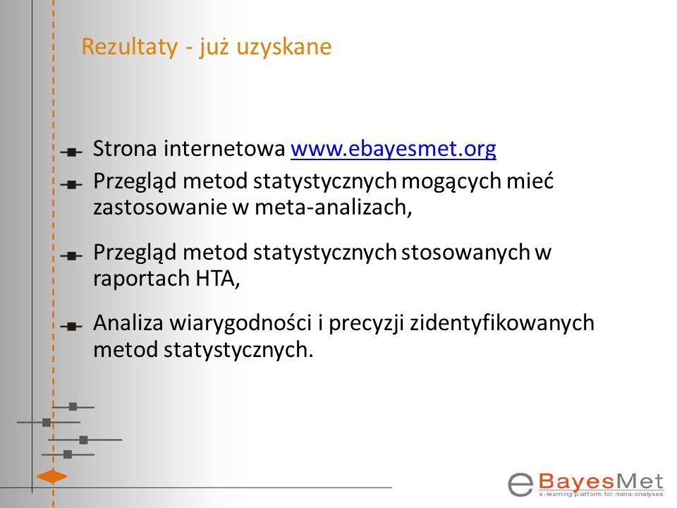Rezultaty - już uzyskane Strona internetowa www.ebayesmet.orgwww.ebayesmet.org Przegląd metod statystycznych mogących mieć zastosowanie w meta-analiza
