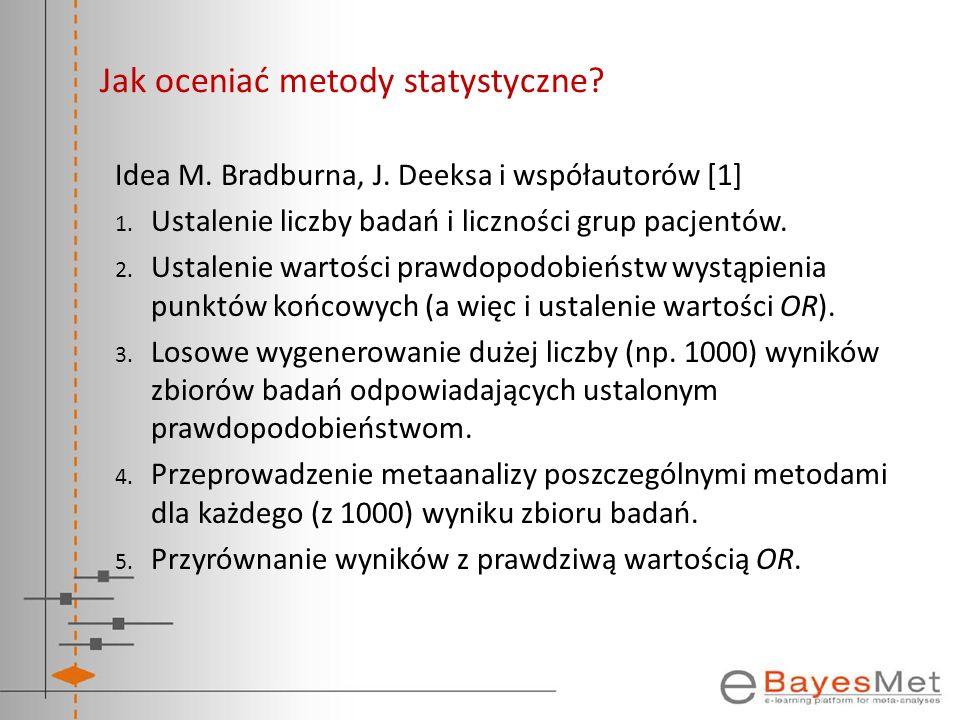 Jak oceniać metody statystyczne? Idea M. Bradburna, J. Deeksa i współautorów [1] 1. Ustalenie liczby badań i liczności grup pacjentów. 2. Ustalenie wa