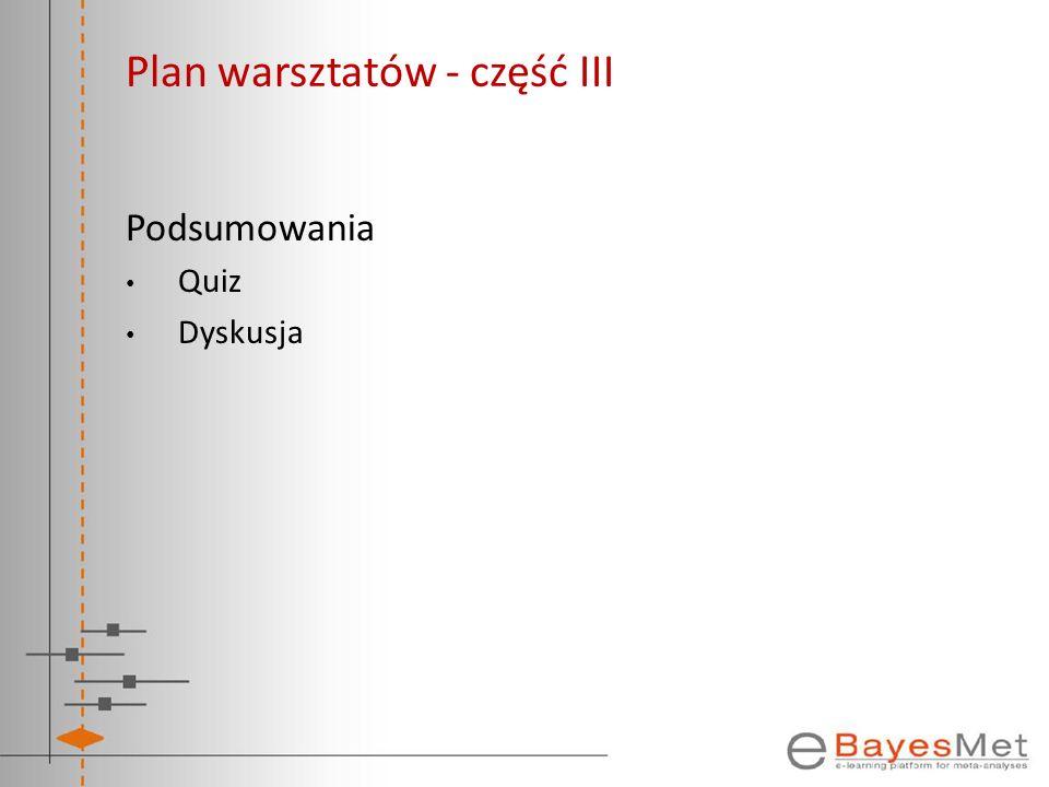 Plan warsztatów - część III Podsumowania Quiz Dyskusja