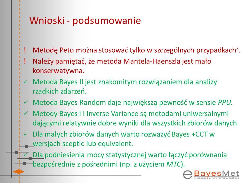 Wnioski - podsumowanie !Metodę Peto można stosować tylko w szczególnych przypadkach 3. !Należy pamiętać, że metoda Mantela-Haenszla jest mało konserwa