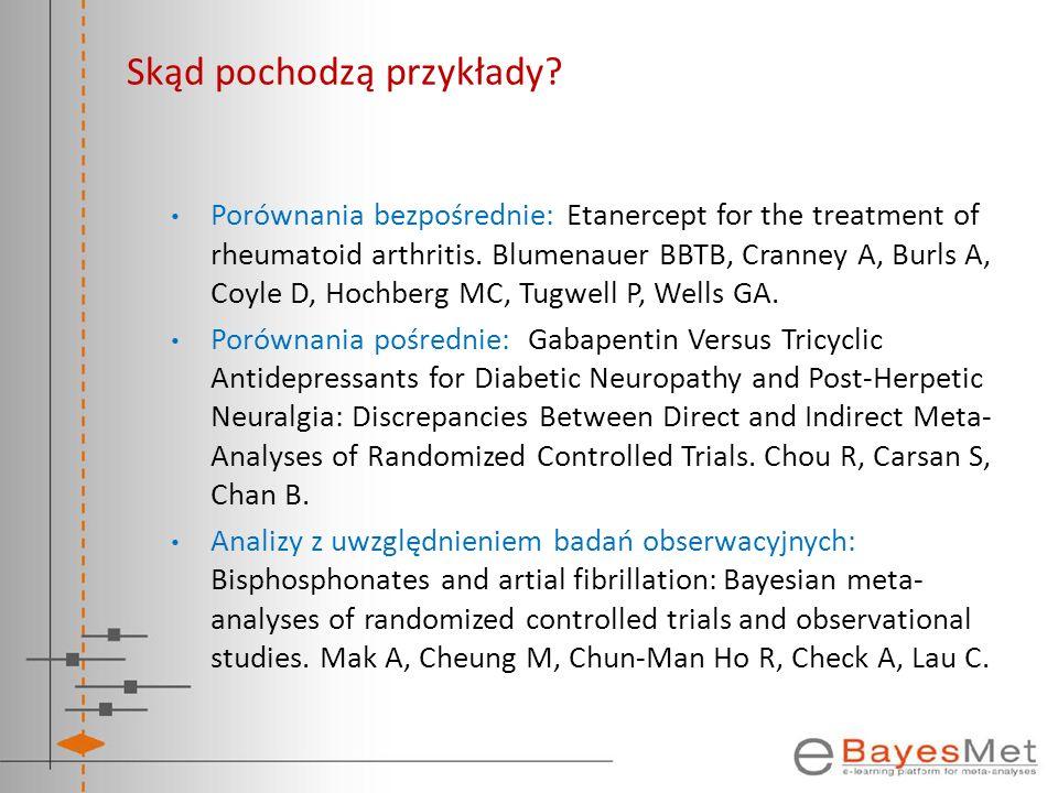 Skąd pochodzą przykłady? Porównania bezpośrednie: Etanercept for the treatment of rheumatoid arthritis. Blumenauer BBTB, Cranney A, Burls A, Coyle D,