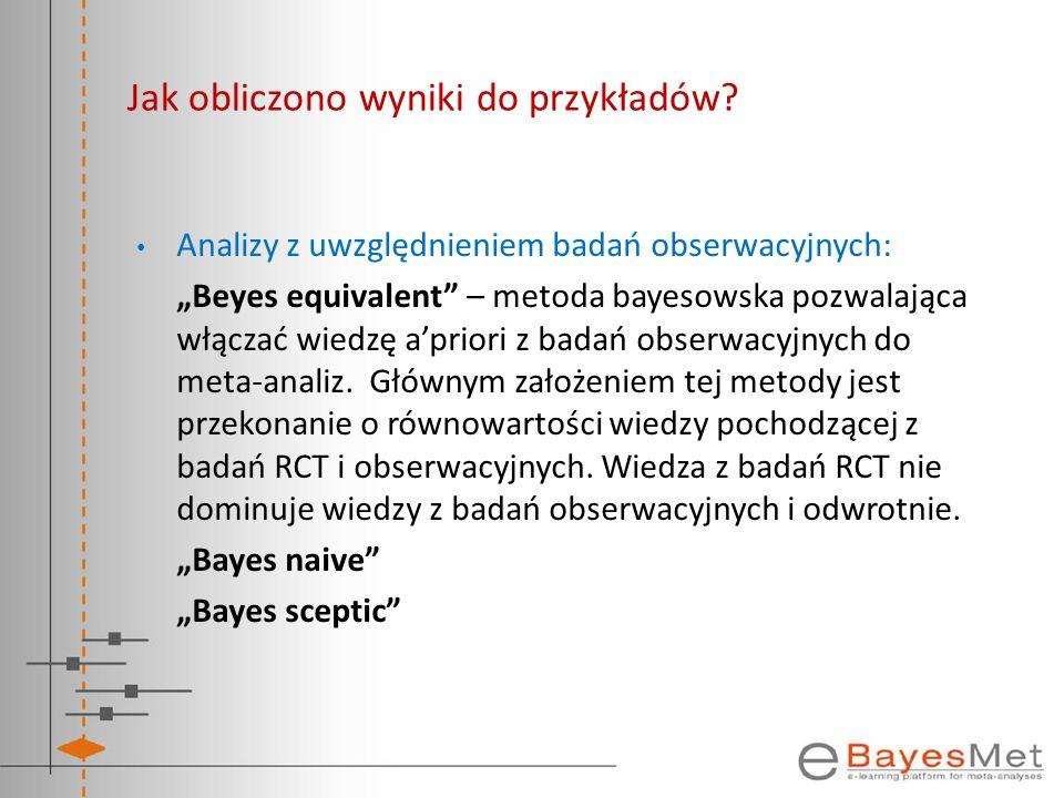 Jak obliczono wyniki do przykładów? Analizy z uwzględnieniem badań obserwacyjnych: Beyes equivalent – metoda bayesowska pozwalająca włączać wiedzę apr
