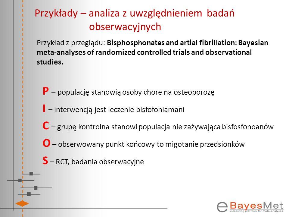 Przykłady – analiza z uwzględnieniem badań obserwacyjnych Przykład z przeglądu: Bisphosphonates and artial fibrillation: Bayesian meta-analyses of ran