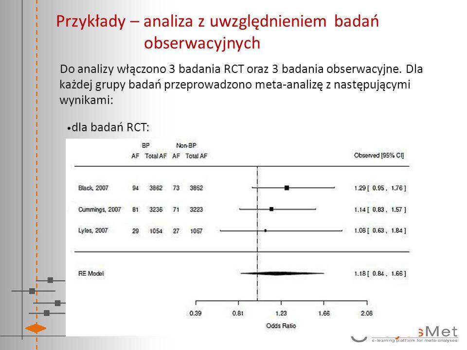 Przykłady – analiza z uwzględnieniem badań obserwacyjnych Do analizy włączono 3 badania RCT oraz 3 badania obserwacyjne. Dla każdej grupy badań przepr