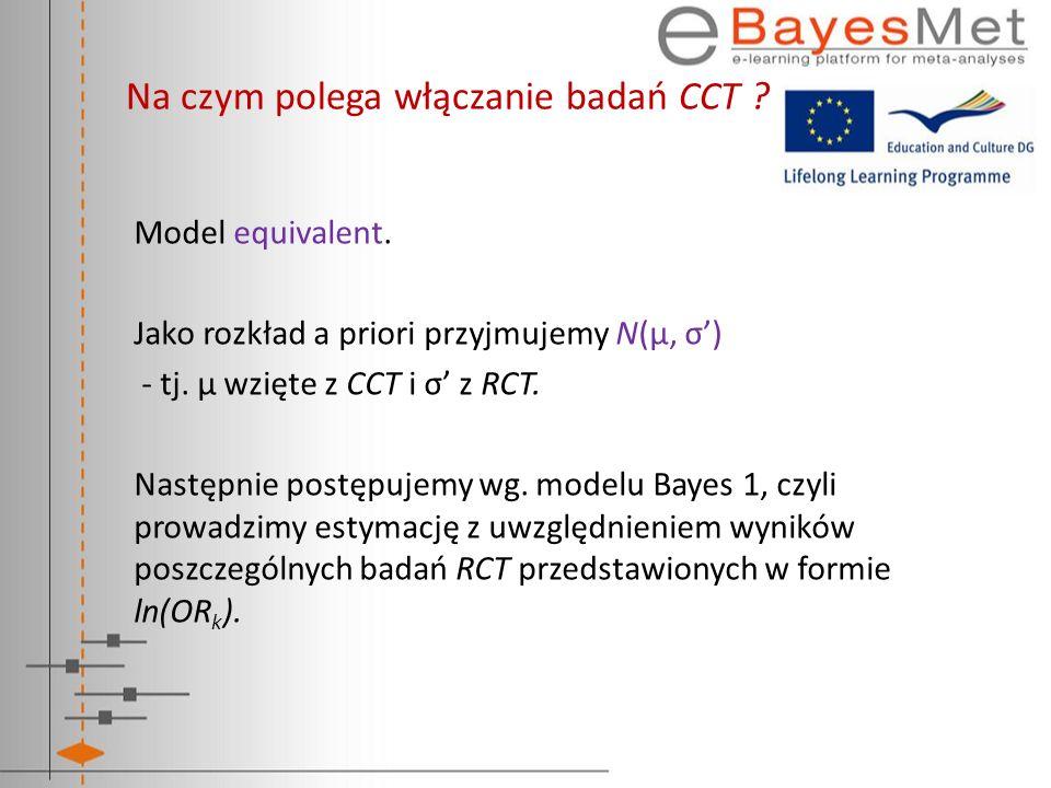 Na czym polega włączanie badań CCT ? Model equivalent. Jako rozkład a priori przyjmujemy N(μ, σ) - tj. μ wzięte z CCT i σ z RCT. Następnie postępujemy