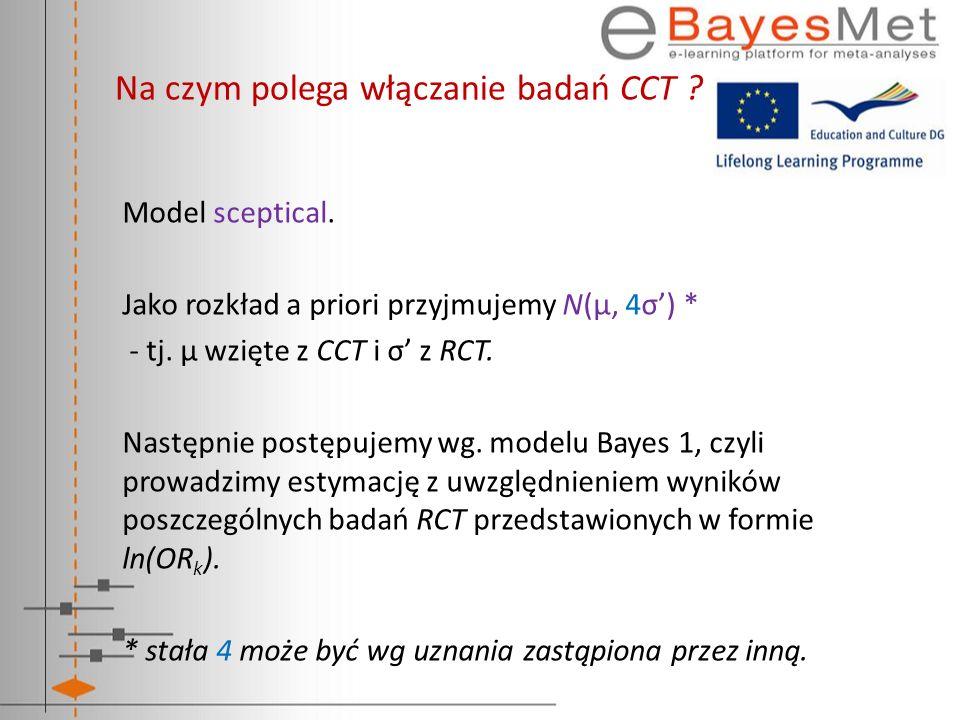 Na czym polega włączanie badań CCT ? Model sceptical. Jako rozkład a priori przyjmujemy N(μ, 4σ) * - tj. μ wzięte z CCT i σ z RCT. Następnie postępuje