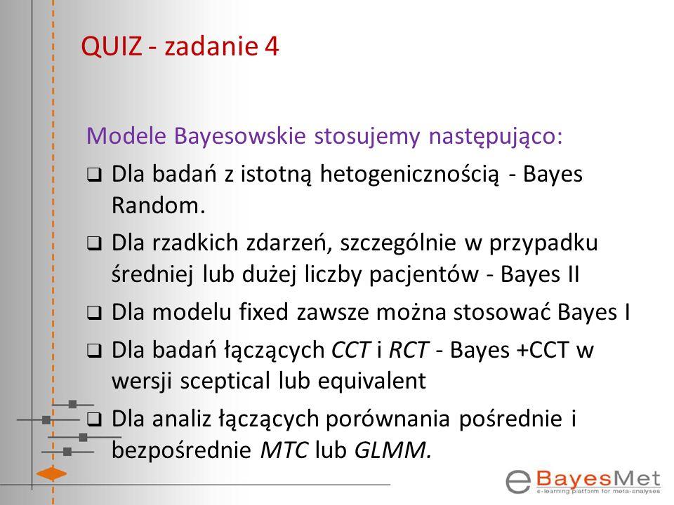 Modele Bayesowskie stosujemy następująco: Dla badań z istotną hetogenicznością - Bayes Random. Dla rzadkich zdarzeń, szczególnie w przypadku średniej