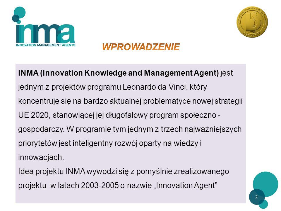 2 INMA (Innovation Knowledge and Management Agent) jest jednym z projektów programu Leonardo da Vinci, który koncentruje się na bardzo aktualnej problematyce nowej strategii UE 2020, stanowiącej jej długofalowy program społeczno - gospodarczy.