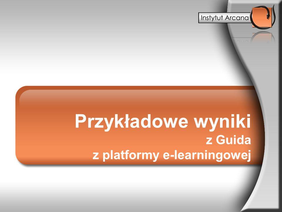 Przykładowe wyniki z Guida z platformy e-learningowej