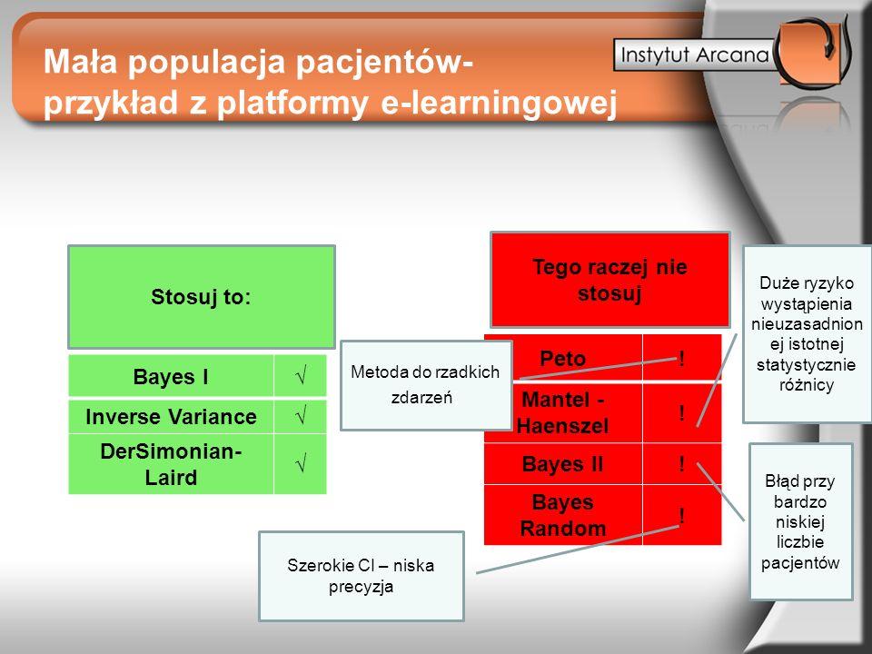 Mała populacja pacjentów- przykład z platformy e-learningowej Tego raczej nie stosuj Peto! Mantel - Haenszel ! Bayes II! Bayes Random ! Bayes I Invers