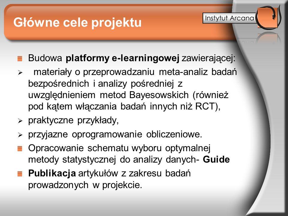 Główne cele projektu Budowa platformy e-learningowej zawierającej: materiały o przeprowadzaniu meta-analiz badań bezpośrednich i analizy pośredniej z
