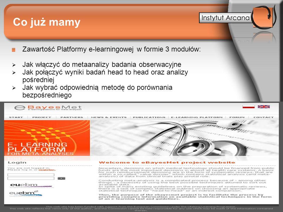 Co już mamy Zawartość Platformy e-learningowej w formie 3 modułów: Jak włączyć do metaanalizy badania obserwacyjne Jak połączyć wyniki badań head to h