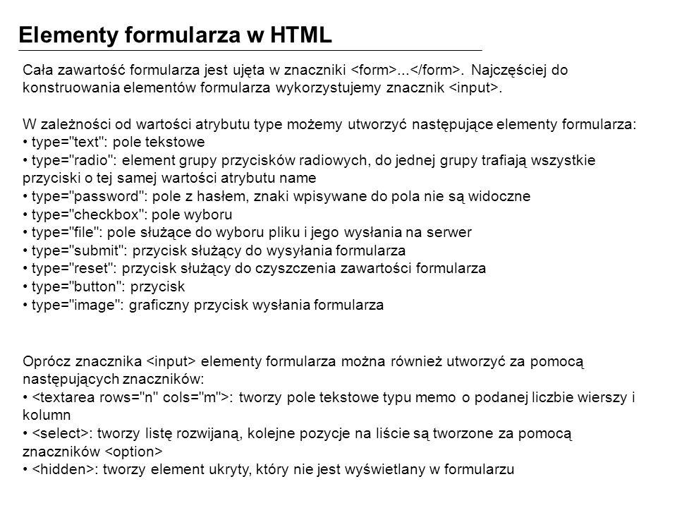 Elementy formularza w HTML Cała zawartość formularza jest ujęta w znaczniki....
