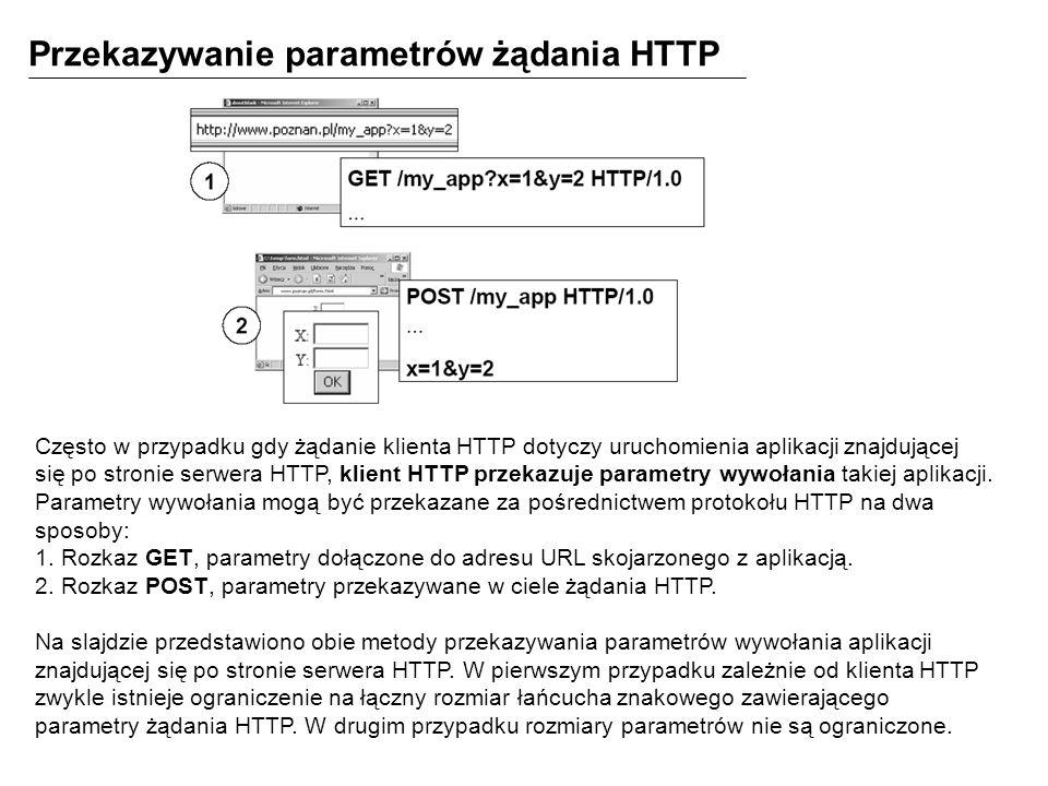 Przekazywanie parametrów żądania HTTP Często w przypadku gdy żądanie klienta HTTP dotyczy uruchomienia aplikacji znajdującej się po stronie serwera HTTP, klient HTTP przekazuje parametry wywołania takiej aplikacji.