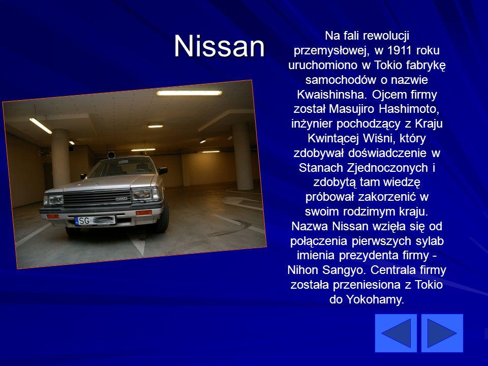 Nissan Na fali rewolucji przemysłowej, w 1911 roku uruchomiono w Tokio fabrykę samochodów o nazwie Kwaishinsha. Ojcem firmy został Masujiro Hashimoto,