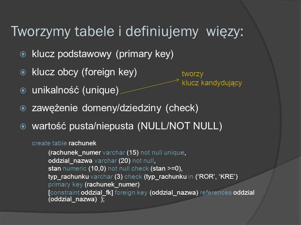 Tworzymy tabele i definiujemy więzy: klucz podstawowy (primary key) klucz obcy (foreign key) unikalność (unique) zawężenie domeny/dziedziny (check) wartość pusta/niepusta (NULL/NOT NULL) create table rachunek (rachunek_numer varchar (15) not null unique, oddzial_nazwa varchar (20) not null, stan numeric (10,0) not null check (stan >=0), typ_rachunku varchar (3) check (typ_rachunku in (ROR, KRE) primary key (rachunek_numer) [constraint oddzial_fk] foreign key (oddzial_nazwa) references oddzial (oddzial_nazwa) ); tworzy klucz kandydujący