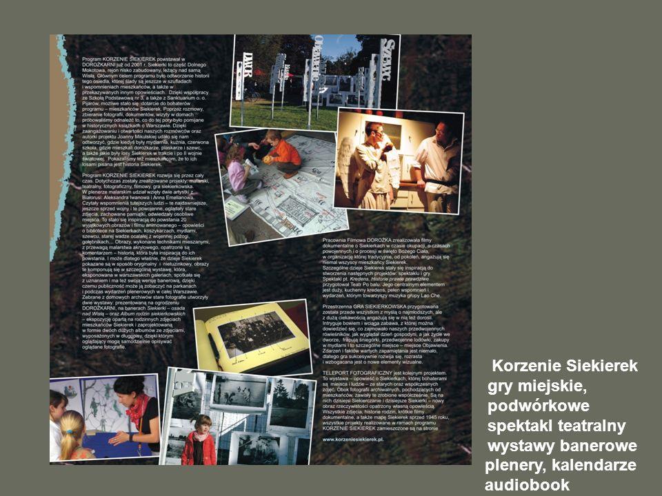Korzenie Siekierek gry miejskie, podwórkowe spektakl teatralny wystawy banerowe plenery, kalendarze audiobook