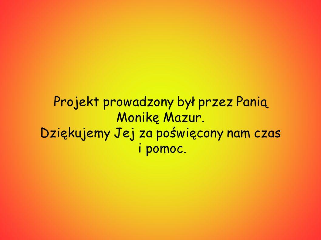 Projekt prowadzony był przez Panią Monikę Mazur. Dziękujemy Jej za poświęcony nam czas i pomoc.