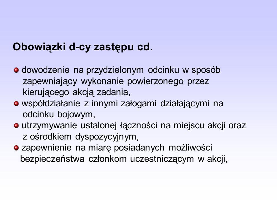 Obowiązki d-cy zastępu cd. dowodzenie na przydzielonym odcinku w sposób zapewniający wykonanie powierzonego przez kierującego akcją zadania, współdzia