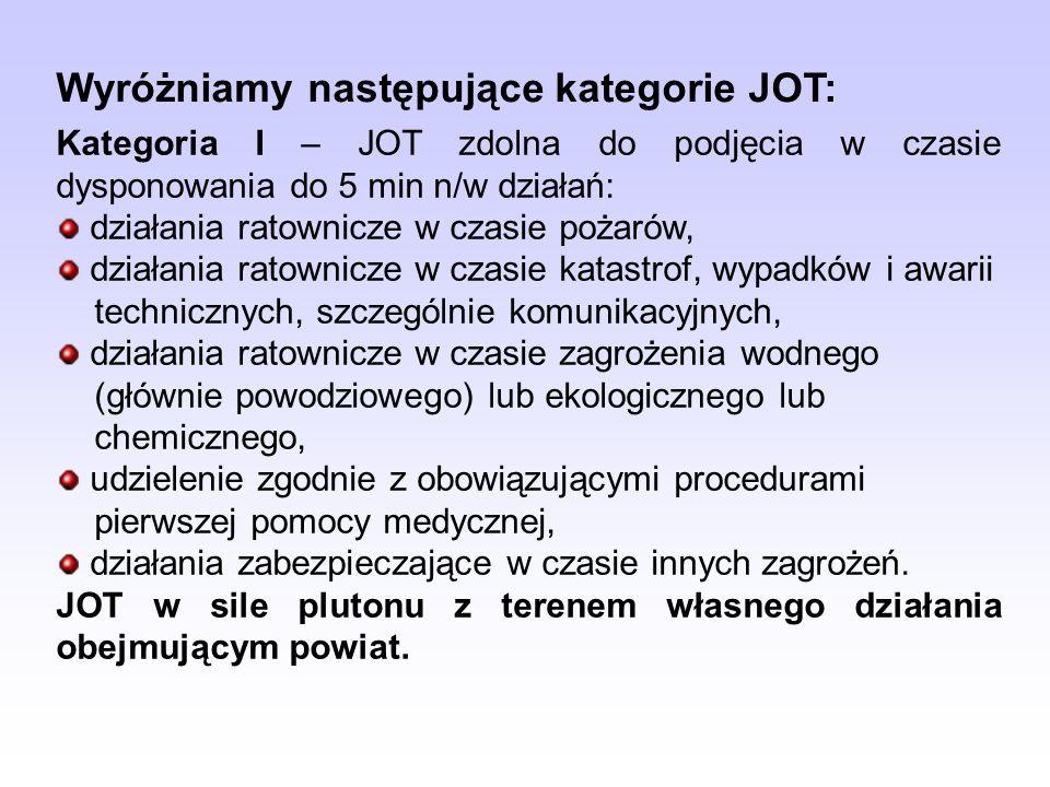 Wyróżniamy następujące kategorie JOT: Kategoria I – JOT zdolna do podjęcia w czasie dysponowania do 5 min n/w działań: działania ratownicze w czasie p