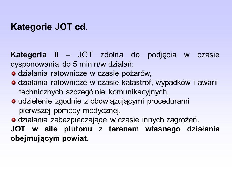 Kategoria III – JOT zdolna do podjęcia w czasie dysponowania do 5 min n/w działań: działania ratownicze w czasie pożarów, udzielenie zgodnie z obowiązującymi procedurami pierwszej pomocy medycznej, działania zabezpieczające w czasie innych zagrożeń.